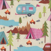 Caravans Tents Camping Quilting Fabric