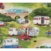 Retro Caravans Camping Trees Nature Quilt Fabric