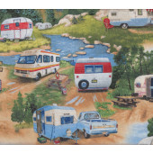 Retro Caravans Ute Camping Trees Mountains Quilt Fabric