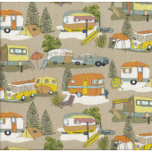 Retro Caravans Kombi Vans Tents Camping New Zealand NZ Quilt Fabric