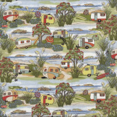 Retro Caravans Holiday Beach Landscape New Zealand NZ Quilt Fabric