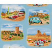 Retro Caravans on Blue Outdoors Quilt Fabric