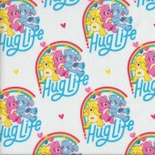 Care Bears Hug Life on White Girls Kids Licensed Quilting Fabric