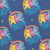 Care Bears Hug Life on Blue Girls Kids Licensed Quilting Fabric