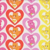 Care Bears in Love Hearts on White Girls Kids Licensed Quilting Fabric