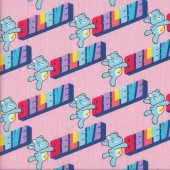 Care Bears Believe on Pink Girls Kids Licensed Quilting Fabric