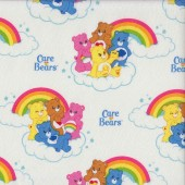 Care Bears Rainbows Clouds on White Girls Kids Licensed Quilting Fabric