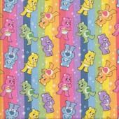 Care Bears Rainbow Stripe Girls Kids Licensed Quilting Fabric