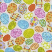 Colourful Easter Eggs on Beige Carrot Patch Kids Quilting Fabric