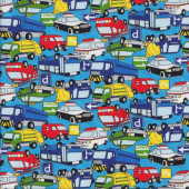 Cars Bus Taxi Fire Trucks Ambulance on Blue Boys Fabric