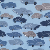 Cars Trucks Utes on Blue Kids Boys Quilt Fabric