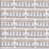 Cartons of Eggs on White Kiss the Cook Egg Quilting Fabric