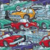 Cartoon Cars Quilting Fabric