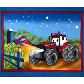 Case IH Tractor Blue Sky With Stars Farm Barn Boys Kids Quilting Fabric Panel