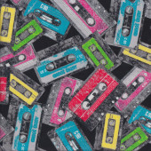 Funky Retro Colourful Cassettes Quilting Fabric