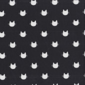 White Cat Faces with Whiskers in Black quilting Fabric