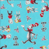 Dr Seuss Cat in the Hat Fish Kids on Blue Licensed Quilt Fabric