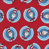 Dr Seuss Cat in The Hat Blue Circles on Red quilting Fabric