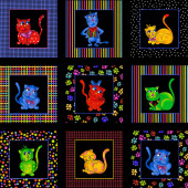 Bright Colourful Cool Cats Loralie Quilt Fabric Panel