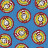 Dr Seuss Cat in The Hat Circles on Blue quilting Fabric