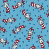 Dr Seuss Cat in The Hat on Blue with Spots Kids Quilting Fabric