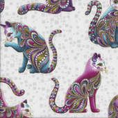 Cat-i-tude Artist-o Cats with Metalllic Gold on White Catitude Quilting Fabric