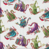 Christmas Cat-i-tude Small Playful Cats on White Metallic Gold Catitude Quilting Fabric