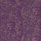 Cat-i-tude Feather Frolic Purple Metallic Gold Catitude Quilting Fabric