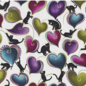 Catitude Love Hearts Quilting Fabric
