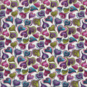 Cat-i-tude Swirling Hearts with Metalllic Gold on White Catitude Quilting Fabric