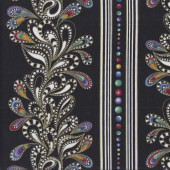 Cat-i-tude Paisley Stripe on Black Metallic Gold Catitude Quilting Fabric