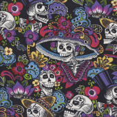 Skulls Catrina Chiquita on Black Folklorico Flowers Quilting Fabric