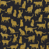 Cats on Black Purr Suasion Quilting Fabric