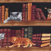 Old Antique Books with Cats on Bookshelf Library Quilting Fabric