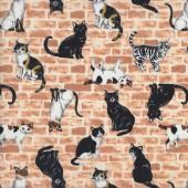 Black Tabby Tortoiseshell Cats on Brick Wall Quilting Fabric