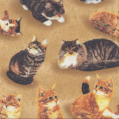 Grey Ginger Tabby Cats on Light Brown Pet Quilting Fabric