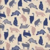 Cute Navy Blue Grey Cats on Cream Fabric