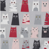Comical Cats on Grey LAMINATED Water Resistant Slicker Fabric
