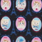 Cats in Oval Frames Paris Eiffel Tower on Black Pet Animal Quilting Fabric