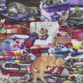 Cute Cats Relaxing on Quilts Sewing Machine Quilting Fabric