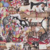 Cute Cats Sewing Machine Buddies Quilts Quilting Fabric