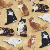 Black White Cats Quilting Fabric