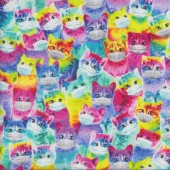 Rainbow Coloured Cats Wearing Masks Kittens Quilting Fabric