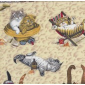 Tabby Cats Sunbaking at Beach on Sand Quilting Fabric