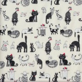 Comical Cats Cream Fabric