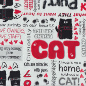 Cat Talk Verses Friend For Life Red Quilt Fabric