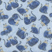 Cat-i-tude Purrfect Together Cats with Metalllic Gold on Blue Quilting Fabric