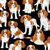 Cavalier King Charles Spaniel Dogs Pet Animal Quilting Fabric