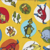Dr Seuss Celebrate on Yellow Lorax Grinch Horton Kids Quilting Fabric