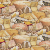 Cheese Fromage Camembert Swiss Brie Chedder Kitchen Quilting Fabric